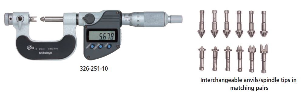 Digimatic Screw Thread Micrometer with Interchangeable Tips series 326 Image